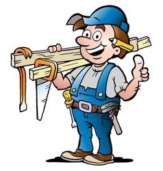 Happy carpenter handyman vector