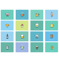 set of flat food icons cute cartoon characters vector image vector image