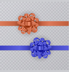 set of gift ribbons with realistic bow of blue and vector image