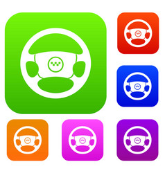Steering wheel of taxi set collection vector