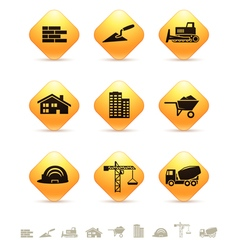 Construction and realty icons on rhombus buttons vector