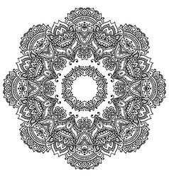 flower mandala with hand drawn floral henna vector image vector image