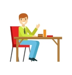 Man Alone At The Table Eating Cake Smiling Person vector image