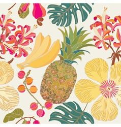 Pattern hibiscus tropical flowers vector image vector image