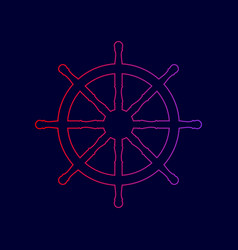ship wheel sign line icon with gradient vector image vector image
