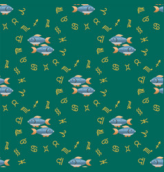zodiac fish seamless pattern horoscope astrology vector image