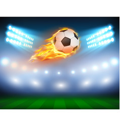 A football in a fiery flame vector