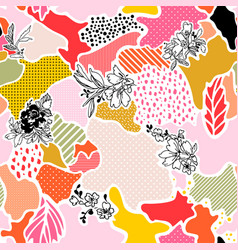 Abstract seamless pattern with floral vector