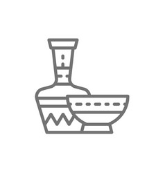 African ethnic pottery bowl jug line icon vector