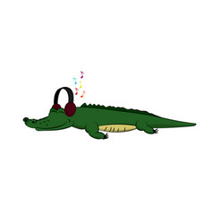 animals of zoo crocodile listening to music vector image