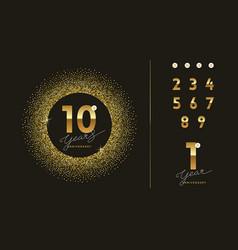 Anniversary golden logo with glitter gold frame vector