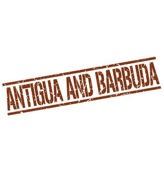 antigua and barbuda brown square stamp vector image