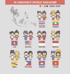 Association southeast asian nations cartoon vector