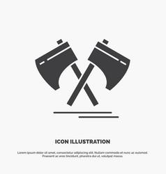 axe hatchet tool cutter viking icon glyph gray vector image