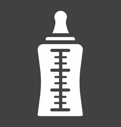 baby bottle solid icon milk and nipple vector image