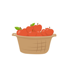 basket apples single icon cartoon style vector image