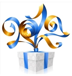 Blue ribbon and gift box Symbol of New Year 2017 vector