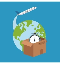 Box and planet of delivery concept design vector image