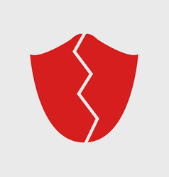 broken shield icon vector image