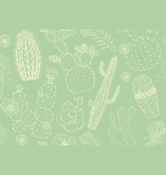 cactus seamless pattern and flowers cozy cute vector image