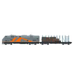 Cargo train for timber transportation vector