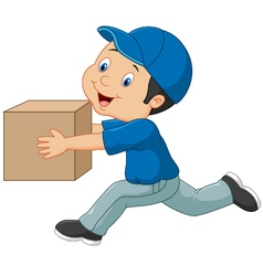 Cartoon a delivery man holding box vector image