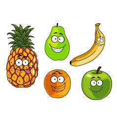 Cartoon apple banana orange pineapple and pear vector