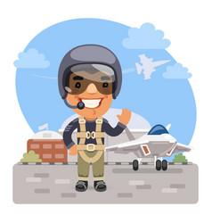 cartoon fighter pilot vector image