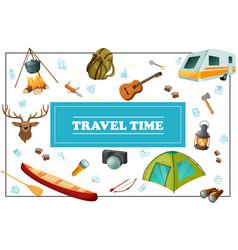 Cartoon summer travel concept vector