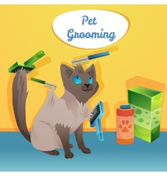 Cat character in groom salon vector image