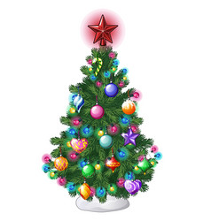 christmas tree with colorful balls star toys and vector image