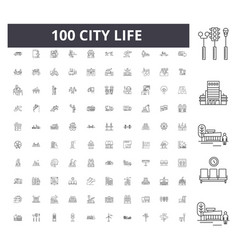 City life line icons signs set outline vector