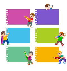 collection blank note with children vector image