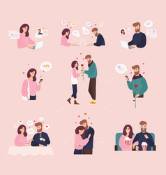 Collection of man and woman using website or vector