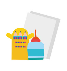 Colorful glue with colored pencils and cardboards vector