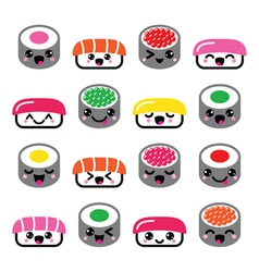 Cute Kawaii sushi - Japanese food icons set vector image