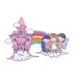 Cute little fairies group with rainbow and castle vector