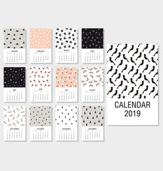 cute monthly calendar 2019 vector image