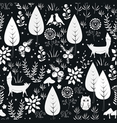 cute seamless pattern with forest vector image