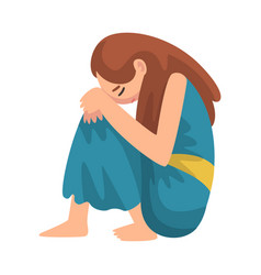 depressed girl sitting on floor hugging her knees vector image