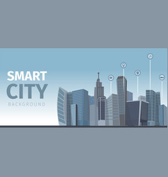 drawing image the smart city background vector image