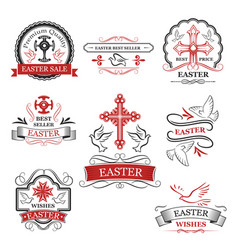 easter sale and premium quality badge set vector image