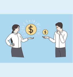 Employees with coins show salary variation vector