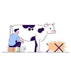 Farmer milking cow flat character livestock vector