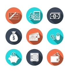 Finance Icons with Shadow vector image