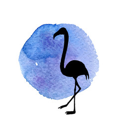 Flamingo in grass silhouette vector