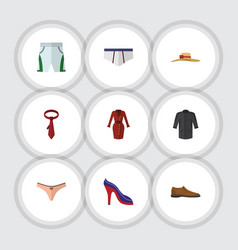 Flat icon clothes set of cravat heeled shoe vector