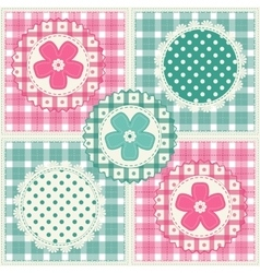 Floral background with decorative patchwork vector image