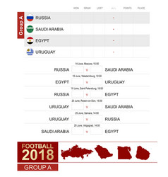football 2018 group a match schedule all vector image