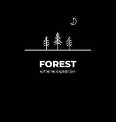 forest adventure logo badge in outline style vector image